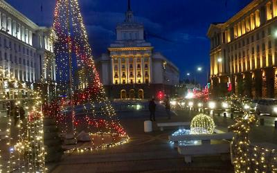Kerstsfeer in Sofia, compleet met sneeuw