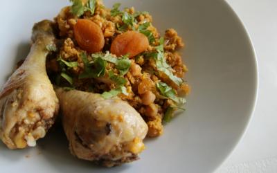 Marokkaanse couscous met kip en abrikozen
