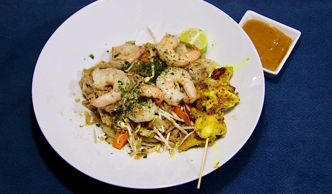 Thaise pad thai met garnalen