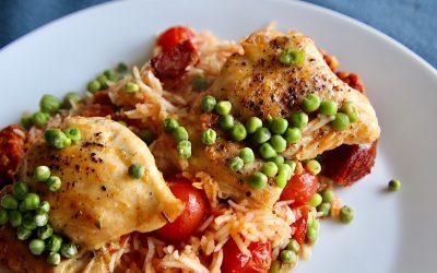 Spaanse kip uit de oven met chorizo
